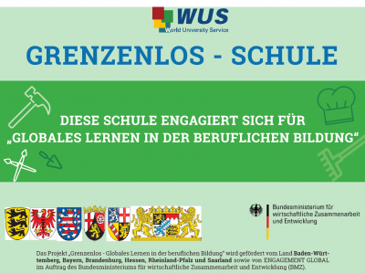 Plakette Grenzenlos-Schule. Quelle: World University Service Deutsches Komitee e. V.