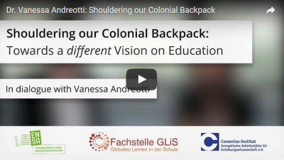 "Interview ""Shouldering our Colonial Backpack"" (Quelle: http://fachstelle-glis.de/interview-mit-vanessa/)"