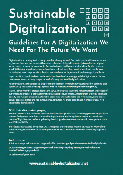 Titelseite Sustainable Digitalization – Guidelines For A Digitalization We Need For The Future We Want, Quelle: www.sustainable-digitalization.net